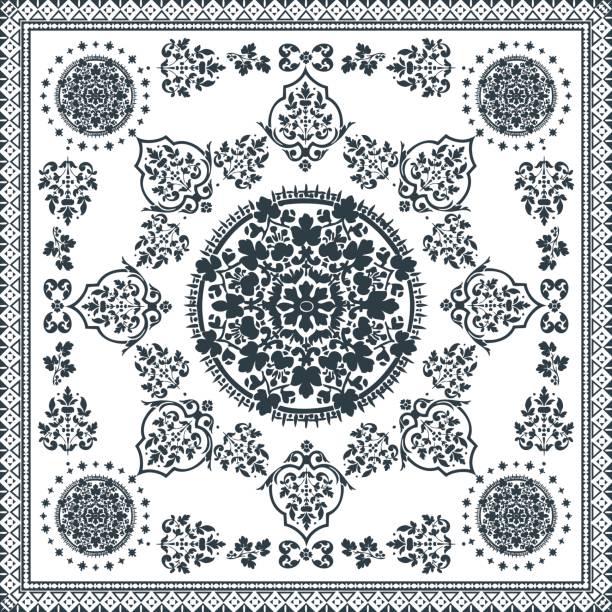 Victorian floral paisley medallion ornamental rug vector. Ethnic mandala towel frame. Vintage flower tile. Black and white. Textile, greeting business card, coloring book, phone case print vector art illustration