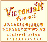 Victorian Font in ancient style. Antique old alphabet for Whiskey label. Vintage typeface in gold colors, editable and layered. Hand drawn Vector modern letters