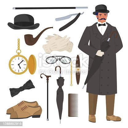 Victorian gentleman set, flat vector isolated illustration. English gentleman clothing and accessories. Bowler hat, cane, razor, watch, pipe, cigar, gloves, umbrella and shoes.