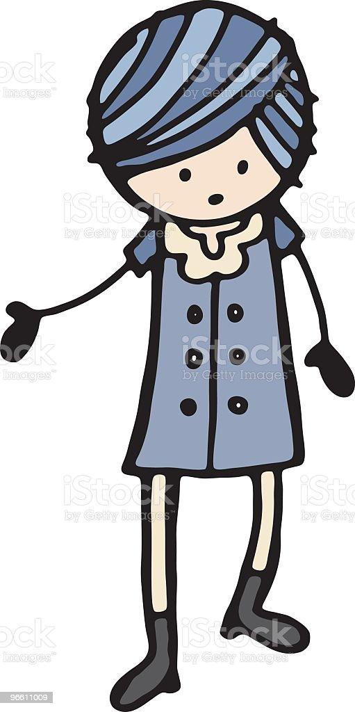Victorian Mädchen - Lizenzfrei Blaues Haar Vektorgrafik