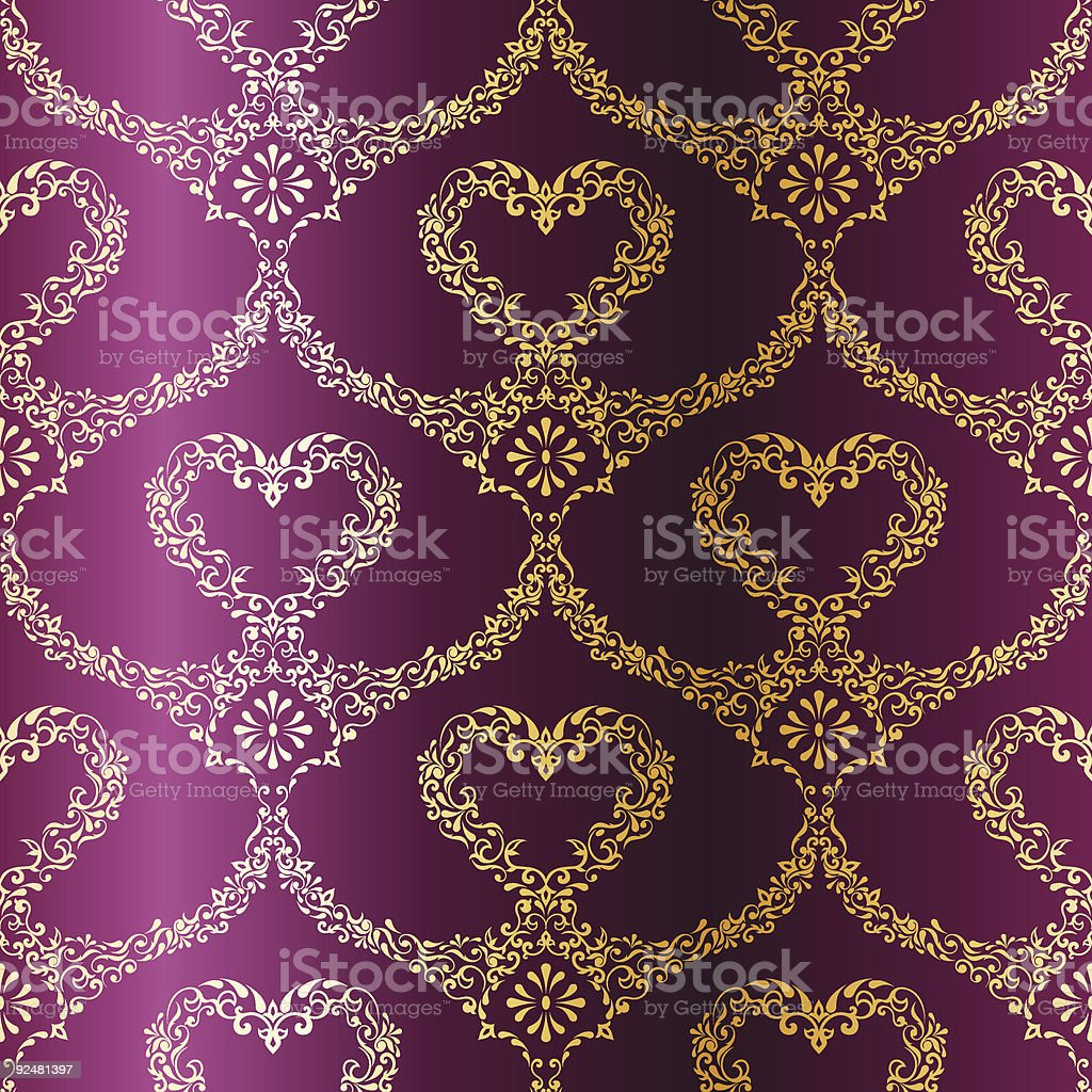 Victorian Gold-on-Purple seamless pattern with hearts royalty-free victorian goldonpurple seamless pattern with hearts stock vector art & more images of arabic style