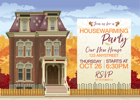 Victorian House in Autumn Housewarming Party Invite and Copy Space