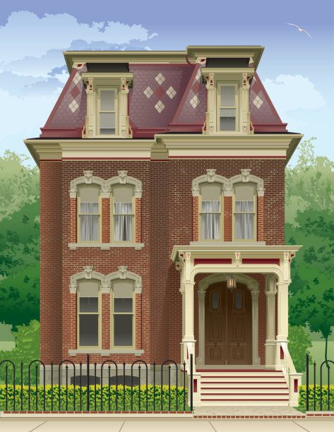 Victorian House in the Summer Victorian House in the Summer - Vector Illustration. Objects grouped for easy editing. front stoop stock illustrations