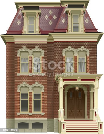 An illustrated red brick Victorian House.