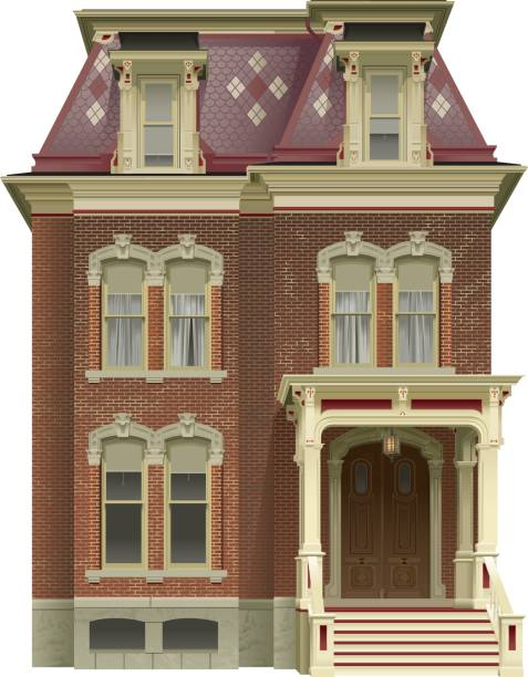 Victorian House An illustrated red brick Victorian House. front stoop stock illustrations