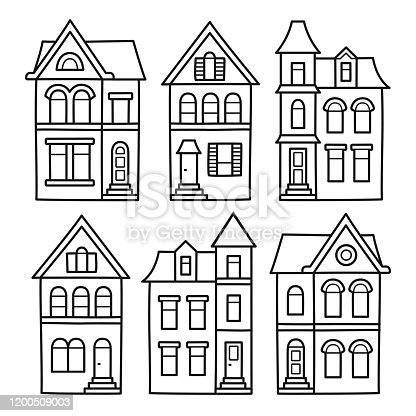Old Victorian style houses, vector illustration set. Hand drawn architecture contour drawing for coloring pages.