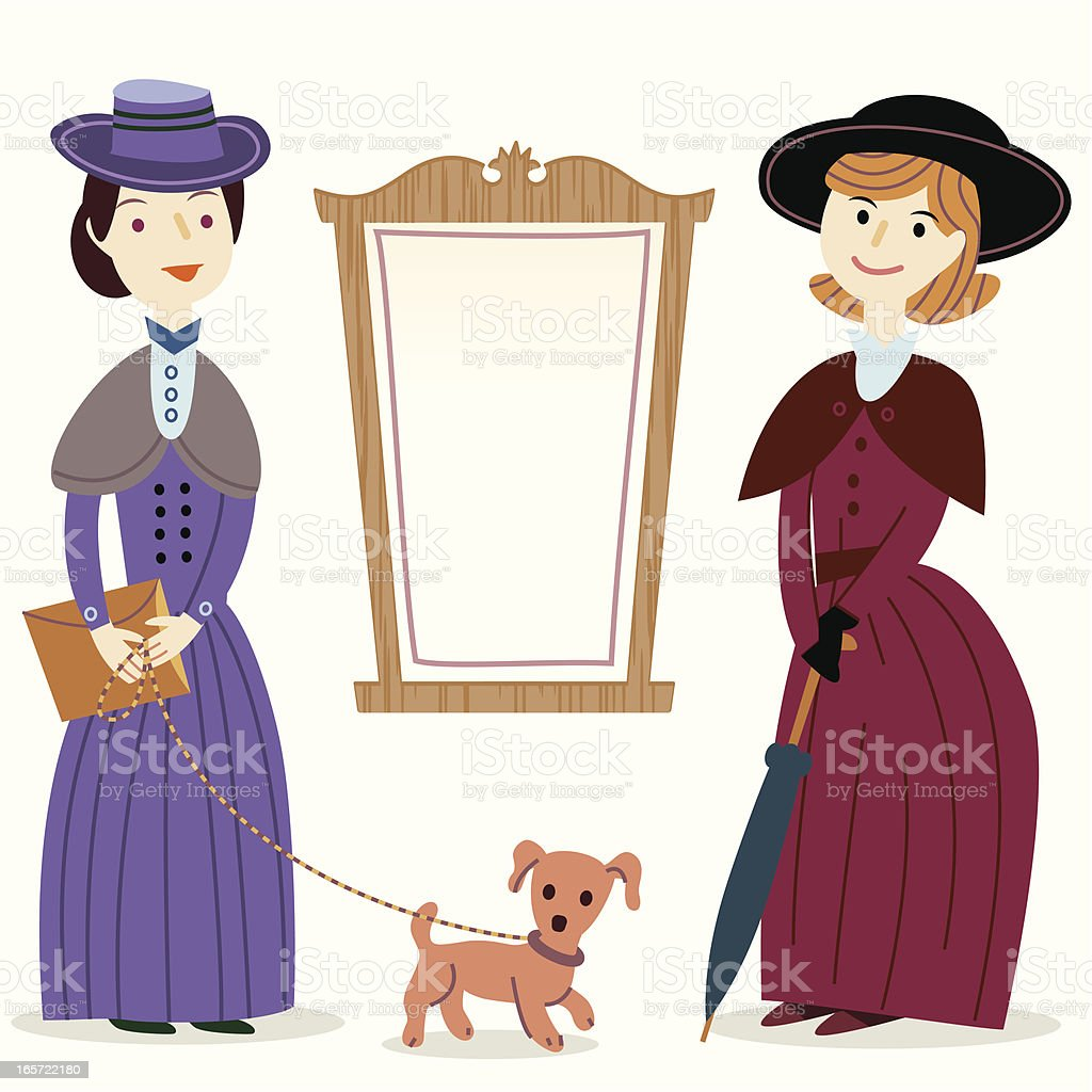 Victorian Ladies by a notice board royalty-free stock vector art