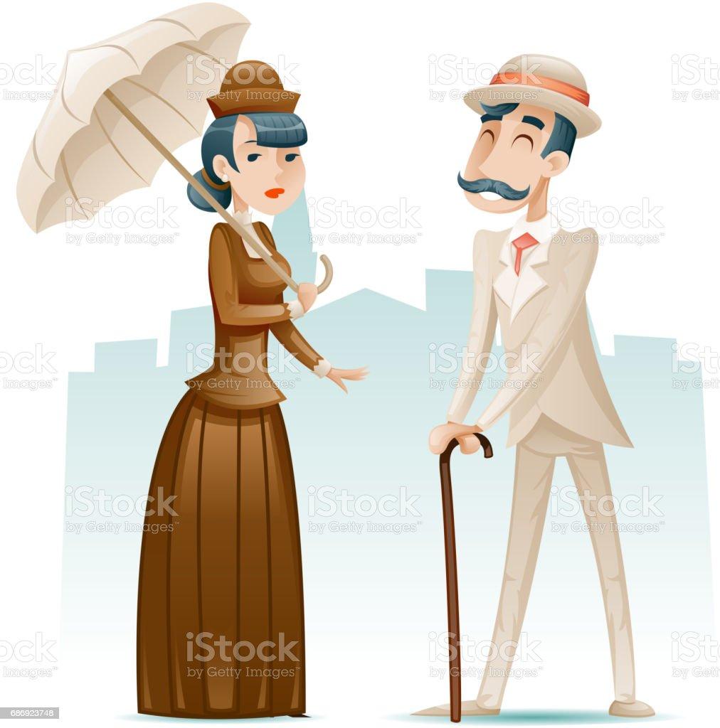Victorian Lady und Gentleman reichen Cartoon Charaktere Symbole auf stilvolle englische Stadt Hintergrund Retro Vintage Großbritannien Design Vektor-Illustration – Vektorgrafik