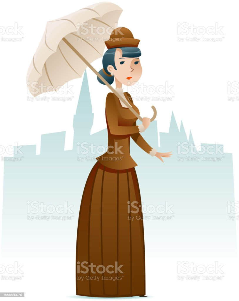 victorian lady businesswoman wealthy cartoon character icon on
