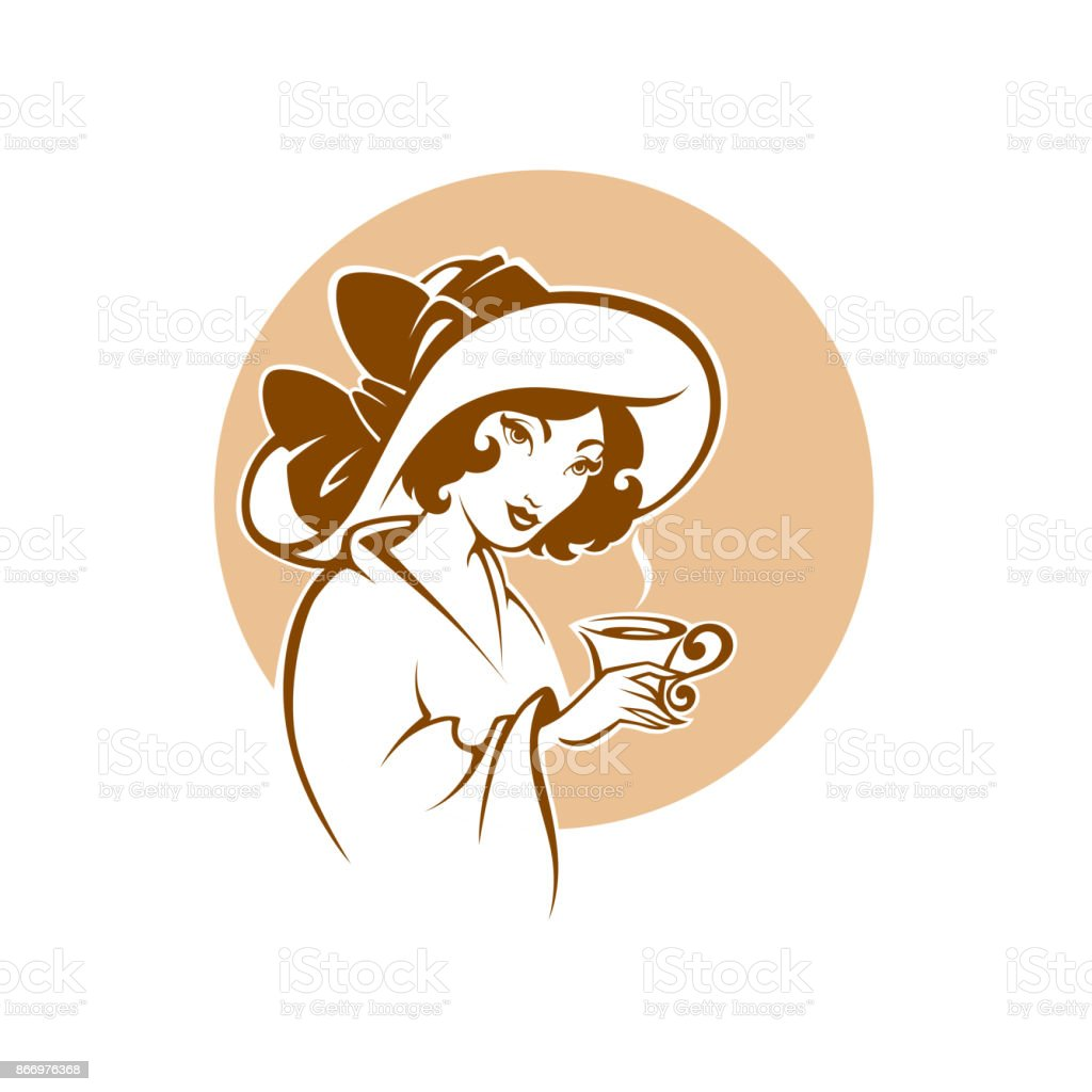 viktorianische Dame Porträt, hält eine Tasse Tee, Kaffee oder Schokolade, mit Tee, Logo für Restaurant, Café oder Tee Unternehmen – Vektorgrafik