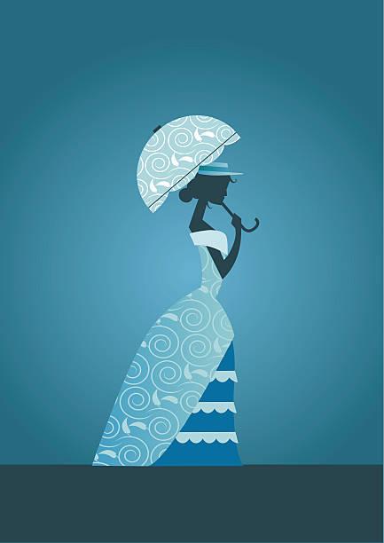 Victorian senhora com guarda-chuva - ilustração de arte em vetor