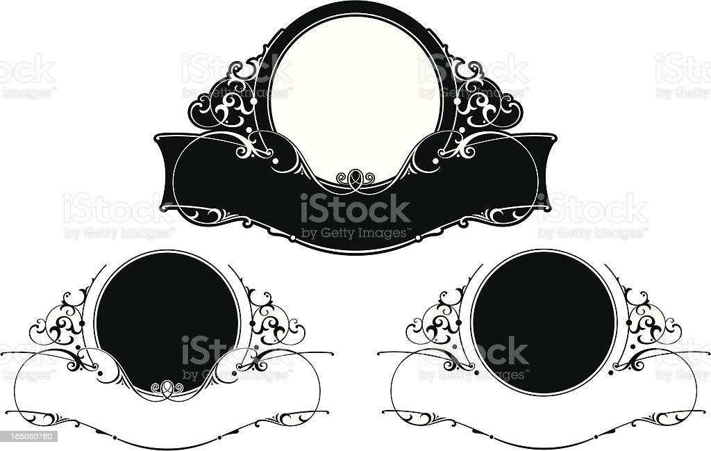 victorian Lettering Panel and Ribbon Design royalty-free stock vector art