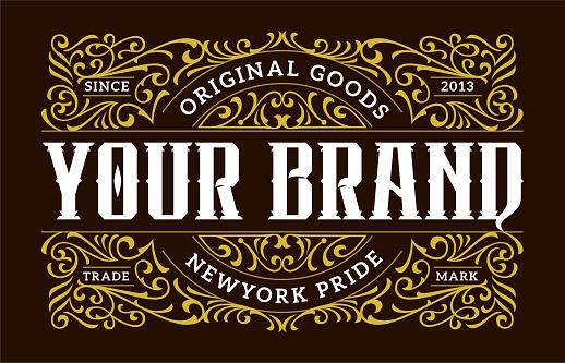 Victorian Ornamental Badges Classic Label Hipster Signage Design Element