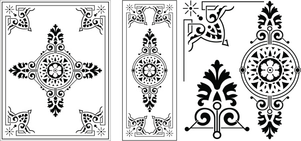 Victorian Ornate Panel with Corner details and ends, all vector illustrations and very clean. Saved in AI,EPS,PDF, and JPEG formats. Colour as you wish!