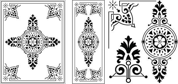 victorian ornate panel - architecture clipart stock illustrations