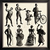 Victorian era people set