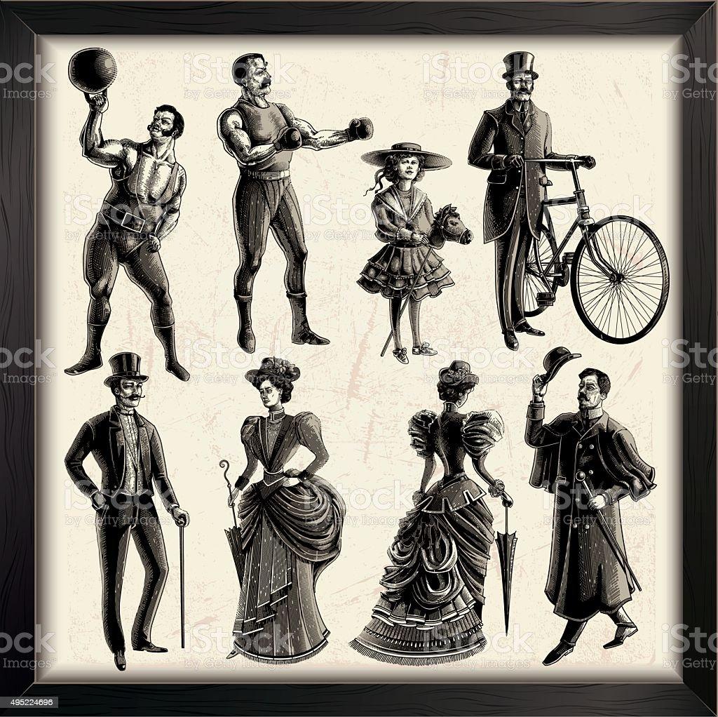 Victorian personas - ilustración de arte vectorial