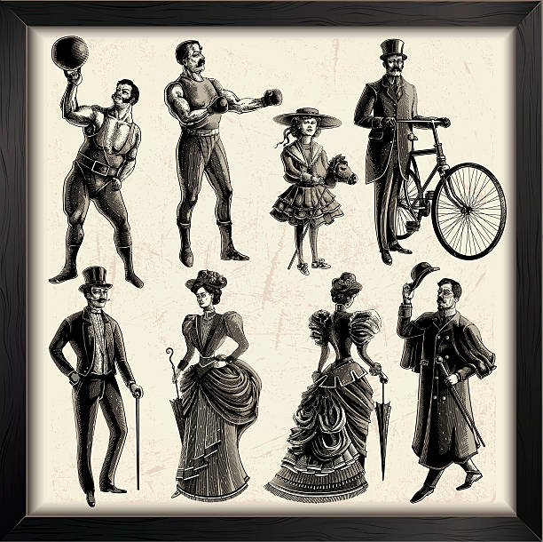 Victorian People vector art illustration