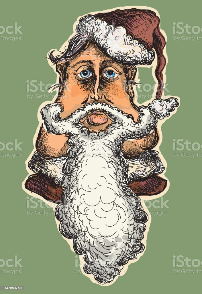 Victorian Santa portrait vector art illustration
