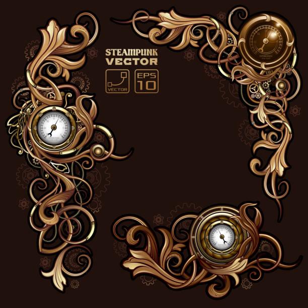 Victorian Steampunk florals vector art illustration