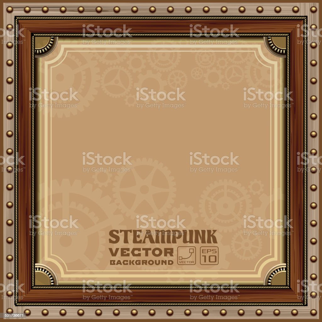 Victorian Steampunk frame vector art illustration