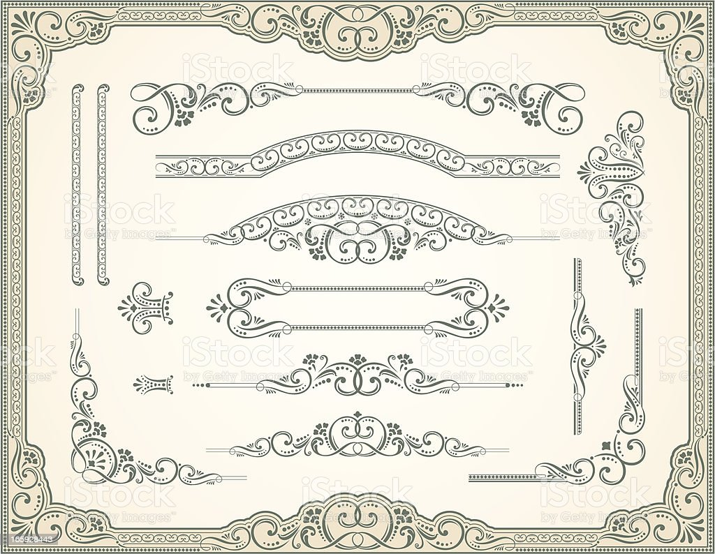 Victorian Style and Scroll Set royalty-free stock vector art