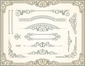 An a Vector Illustration of Victorian Scroll Set