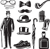 Victorian style monochrome illustrations for gentleman club. Vector pictures set. English gentleman clothing in suit, accessories umbrella and gloves