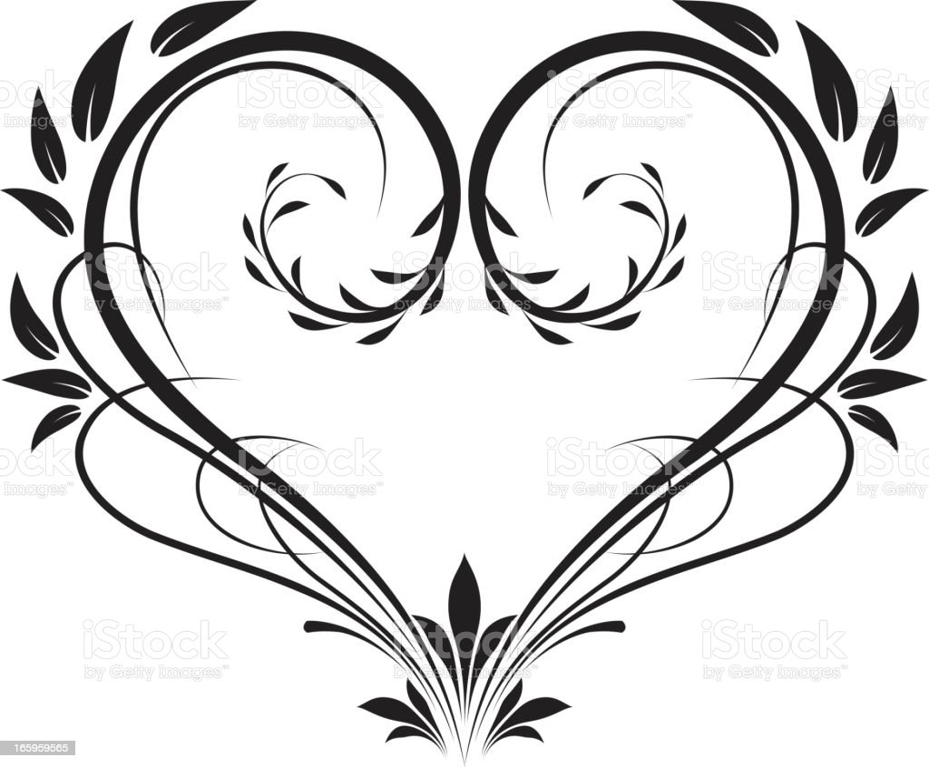 Victorian swirly calligraphy heart frame vector