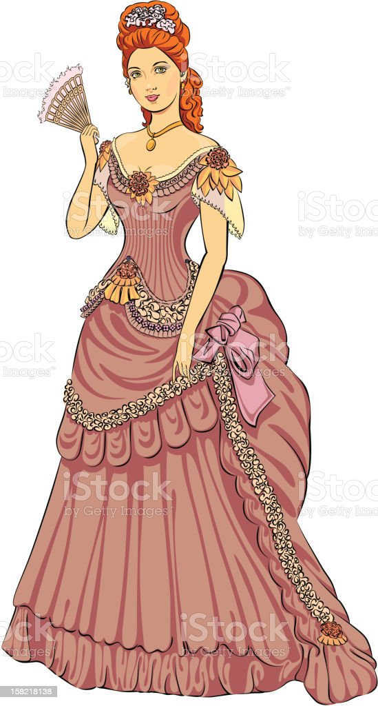 Victorian-fashioned lady royalty-free stock vector art