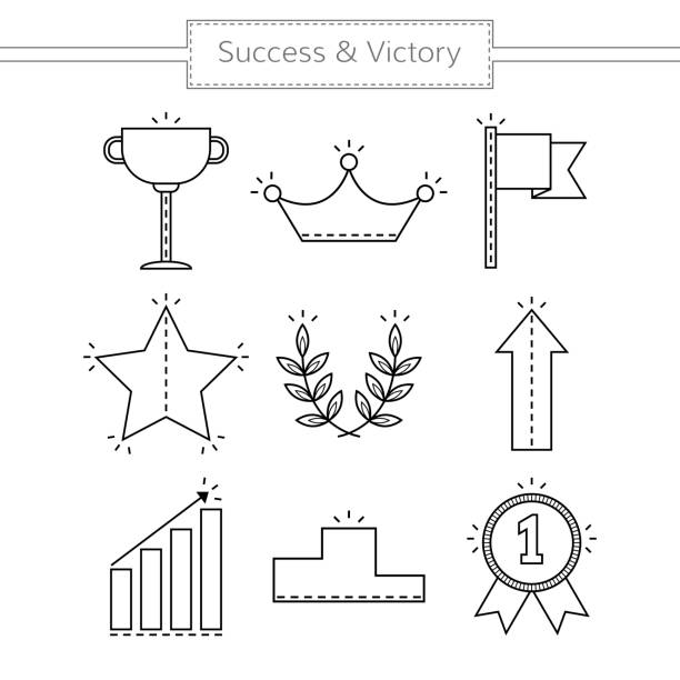 Victory and success. Set of linear flat icons isolated. Vector Victory and success. Set of linear flat icons isolated. Vector illustration crown headwear stock illustrations