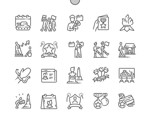 bildbanksillustrationer, clip art samt tecknat material och ikoner med victory day väl utformad pixel perfekt vektor tunna linje ikoner 30 2x rutnät för webbgrafik och appar. enkelt minimalt piktogram - parad
