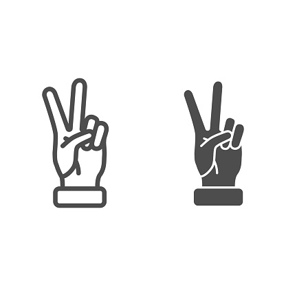 Victory gesture line and solid icon, Hand gestures concept, Peace sign on white background, Two fingers up icon in outline style for mobile concept and web design. Vector graphics.