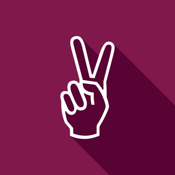 Victory hand sign icon. Hand showing two finger flat icon with long shadow. Vector Illustration Victory hand sign icon. Hand showing two finger flat icon with long shadow. Vector Illustration symbols of peace stock illustrations