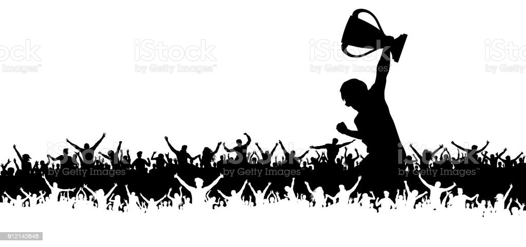 Victory in the championship cup, cheering crowd of sports fans vector art illustration