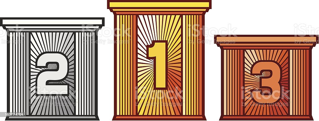 victory podium with first, second and third places royalty-free victory podium with first second and third places stock vector art & more images of bronze - alloy