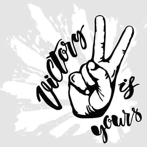 Victory sign. Victory is yours Victory sign. Victory is yours concept hand lettering motivation poster. Artistic modern brush calligraphy design for a logo, greeting cards, invitations, posters, banners, t-shorts, seasonal greetings illustrations. symbols of peace stock illustrations