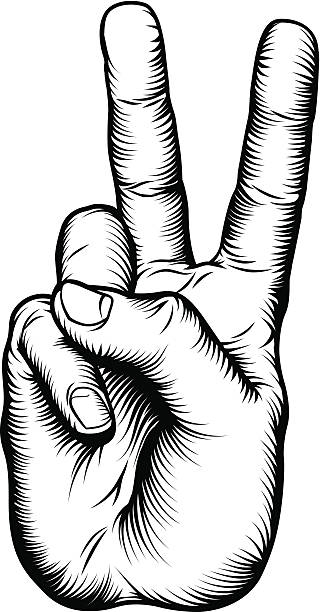 Victory V salute or peace hand sign Illustration of a victory V salute or peace hand sign in a retro woodblock style. Vector file is eps 10 peace symbol stock illustrations