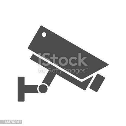 istock Videcam silhouette vector icon isolated on white background. Video surveillance security camera flat icon for web, mobile apps and user interface design 1183762954