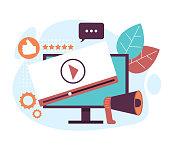 Video advertisement marketing concept. Vector graphic design flat cartoon