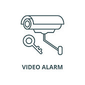 Video alarm vector line icon, linear concept, outline sign, symbol