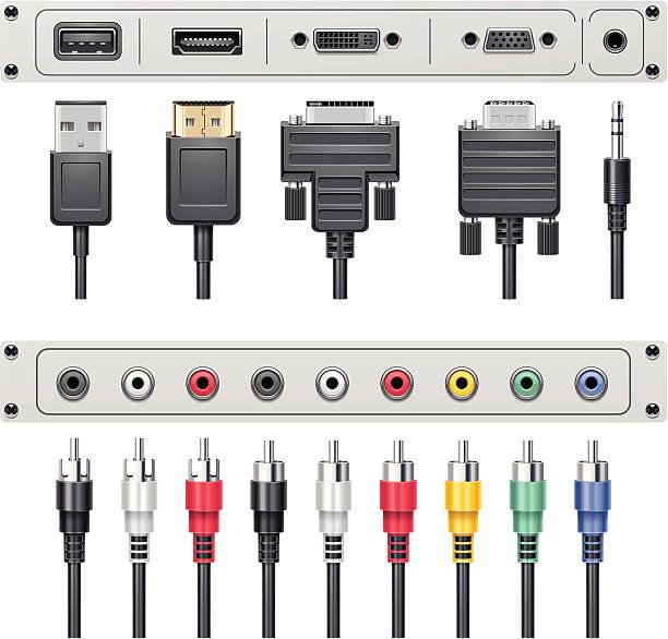 Video and audio connectors vector art illustration