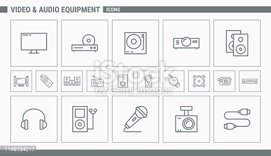 Icons and illustrations on the theme of video and audio equipment for the site or interface