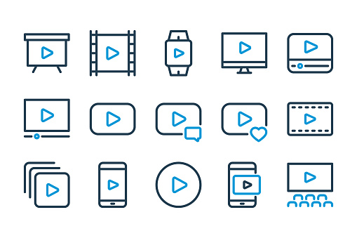 Video and Online stream related line icon set.