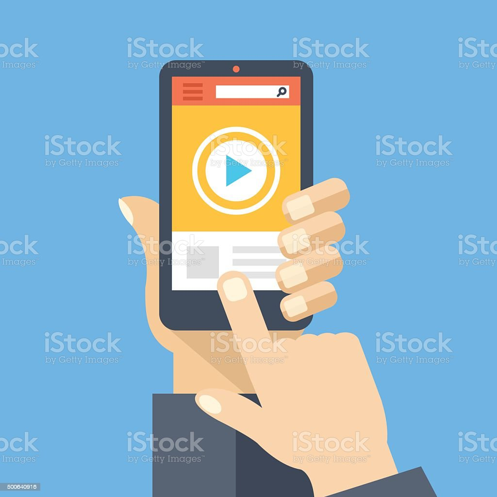 Video app on smartphone screen. Watch and share digital content. vector art illustration