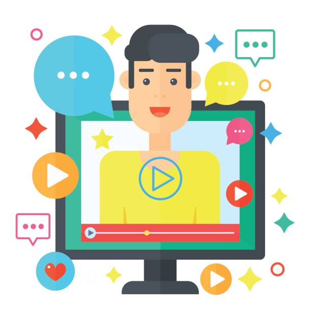 Video blogger concept. Computer screen with man blogger. Personal channel broadcasting flat vector illustration. Video blogger concept. Computer screen with man blogger. Personal channel broadcasting flat vector illustration looking at camera stock illustrations