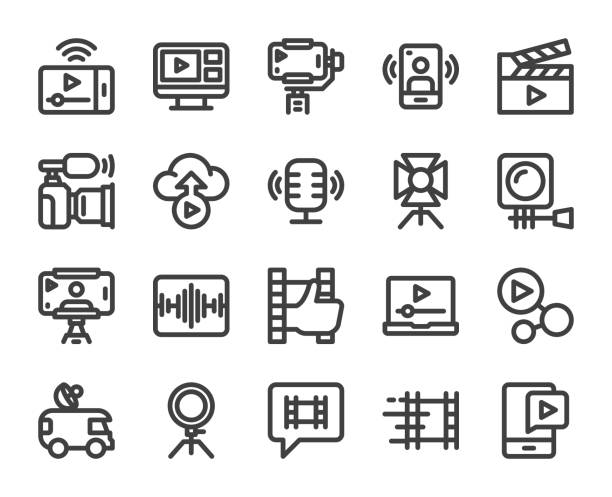ilustraciones, imágenes clip art, dibujos animados e iconos de stock de video blogging y live streaming - bold line icons - video call