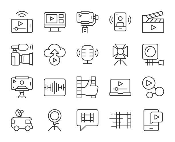 비디오 블로그 및 라이브 스트리밍 - 라이트 라인 아이콘 - 사진 촬영 이미지 캡처 stock illustrations