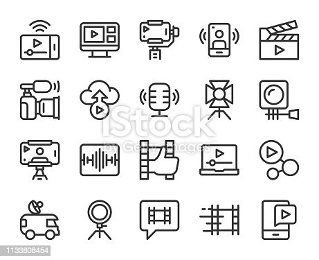 Video blogging and Live Streaming Line Icons Vector EPS File.