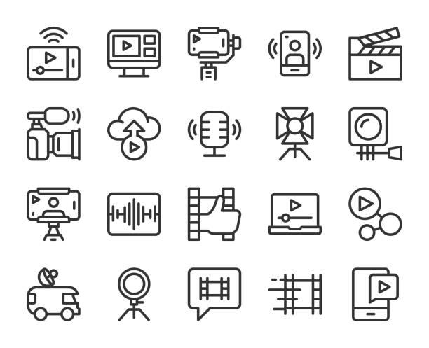 illustrazioni stock, clip art, cartoni animati e icone di tendenza di blog video e live streaming - icone di linea - video call